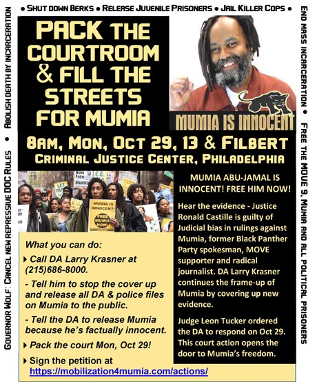 Flyer for a rally in support of the Freedom for Mumia Abu-Jamal campaign. Mumia Abu-Jamal is a journalist, political activist, former member of the Black Panther Party and a supporter of MOVE. He is currently serving a life-sentence for the alleged murder of a police officer in 1981 in a trail seen by many as flawed and biased. Image:    FreeMumia.com