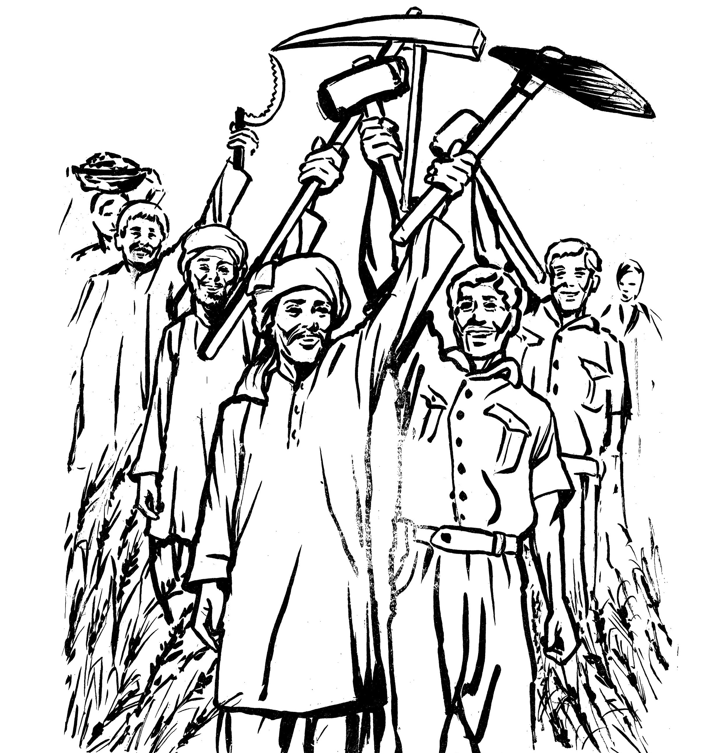 A cover image for the Forum's June-July 1972 issue depicts worker-peasant solidarity. This issue investigated the peasant movement in Hashtnagar and the 1972 Karachi labour unrests. Source: JSTOR