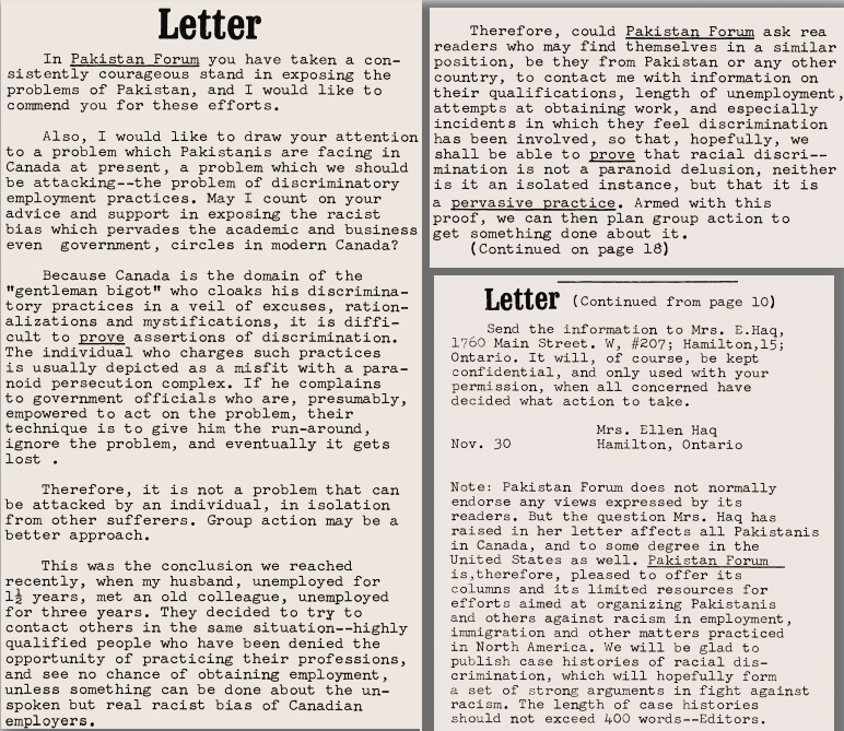 The letter from Ellen Haq, published in the Forum's November 1971 issue. Source: JSTOR