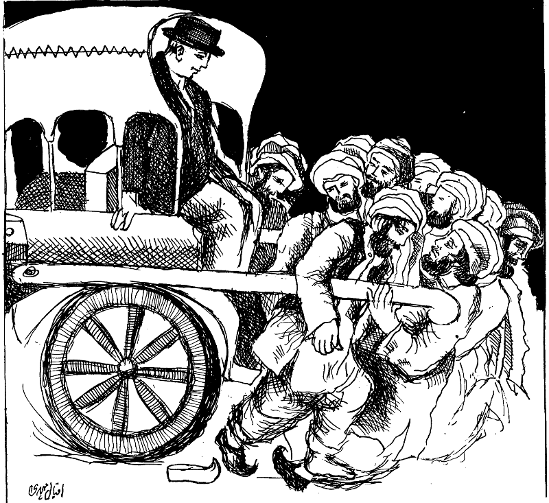 "Artwork by Eqbal Mehdi from the Forum's May-June 1973 issue. It depicts the exploitation of Balochistan and its people by the Punjab-dominated Pakistan government at the centre, suggesting (with the use of the gentlemen) that this relationship is almost colonial in nature. This Forum's issue was devoted exclusively to various articles on Balochistan, from an investigative report on a Baloch fishing village to Aijaz Ahmad's inquiries into the province's ""national question"" and ""agrarian question"". Source: JSTOR"