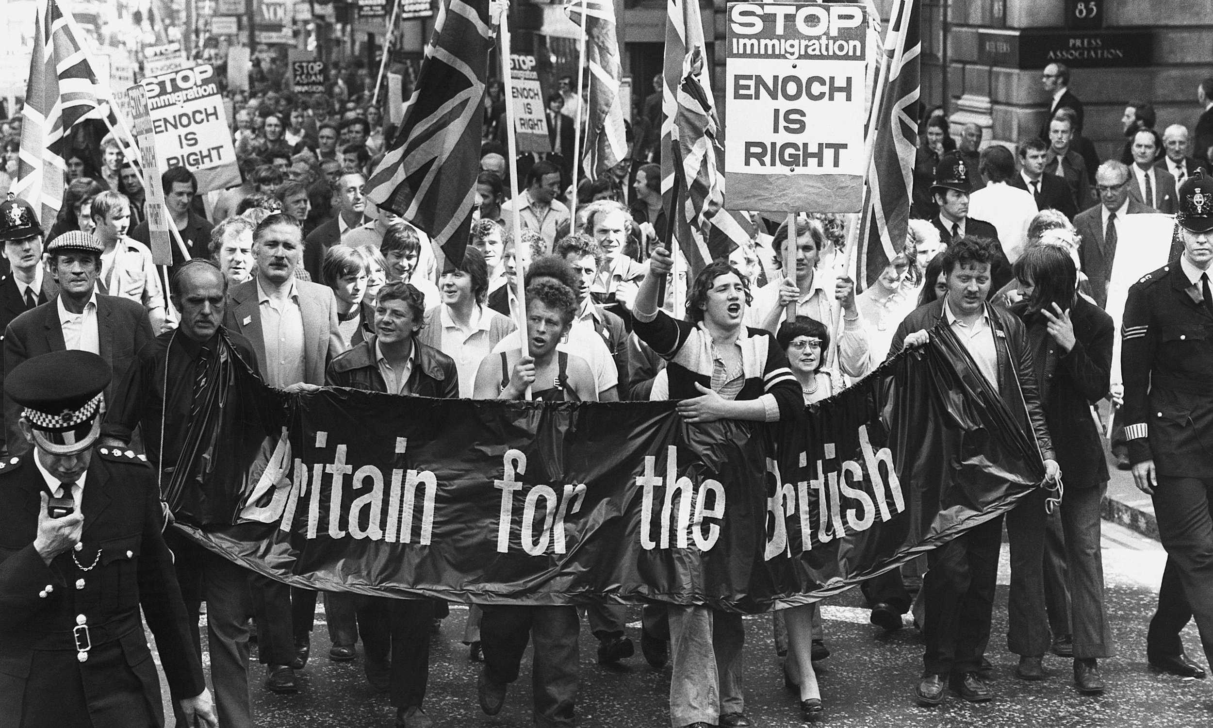 "Anti-immigration protesters march in 1972. Enoch Powell received thousands of letters of support after his ""Rivers of Blood"" speech where he infamously said that ""in this country in 15 or 20 years' time the black man will have the whip hand over the white man"". He became a leading figure head for many racist organizations across Britain. Image:    Hateful History"