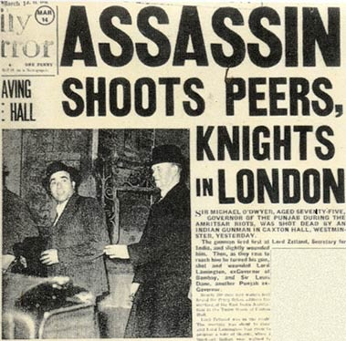 Newspaper clipping from March 1940, showing Udham Singh Azad being escorted by police officers after he assassinated the former colonial lieutenant governor of Punjab. Image:    Rediff