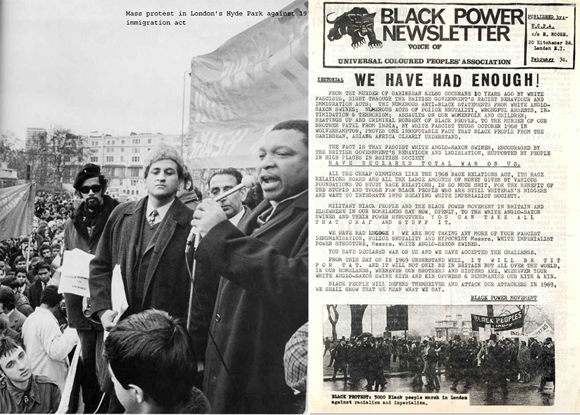 Left: 21st March 1971: BPA brings out 8000 people to Hyde Park in London to demonstrate against the 1971 Commonwealth Immigration Act. Jagmohan Joshi (center) seen on stage. Image:    Woodsmokeblog   . Right: UCPA's Black Power Newsletter states the objectives of BPA, followed by an image of their January 1969 rally at Hyde Park. Image:    Woodsmokeblog
