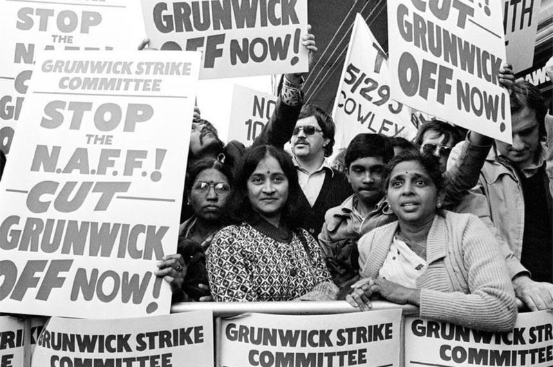 Led by Jayaben Desai (right), the Grunwick strike was a watershed moment in British industrial history, for it was the first time an immigrant worker struggle won widespread support from the labour movement. The strike started in 1976, lasted two years and was supported by the wider labour movement and Black Power organizations. Image:    Stronger Unions