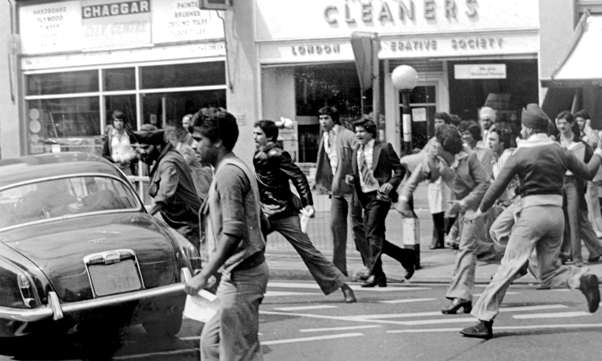 1976: Residents of Southall riot to protest the murder of Gurdip Singh Chaggar. Despite the presence of the influential IWA (Southall), the youth went on to form alternative organizations that believed in militant direct action. Image:    Guardian