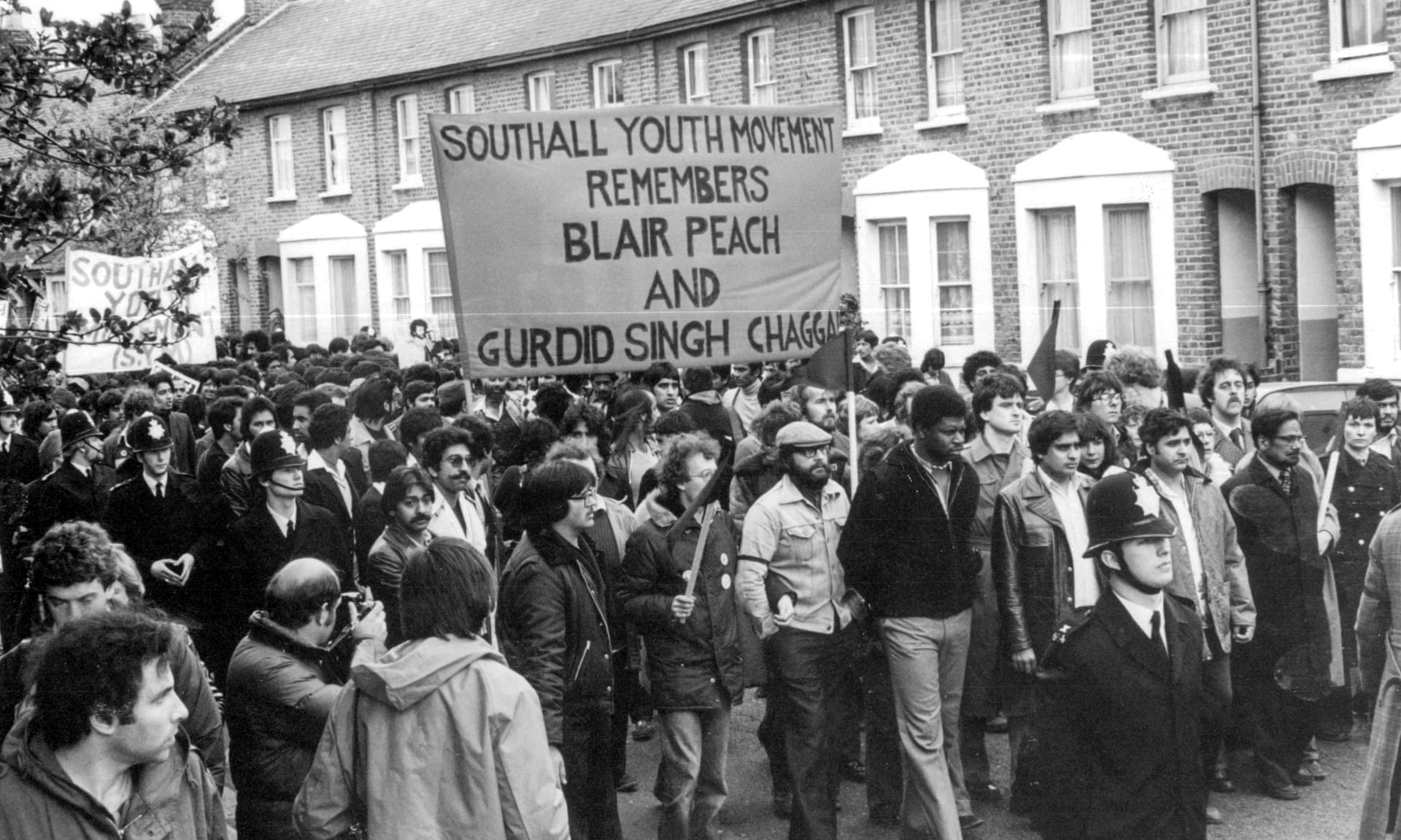 The Southall Youth Movement (SYM) leads a march remembering the deaths of Blair Peach and Gurdip Singh Chaggar. SYM became the first of a number of South Asian youth organizations that decided to fight racism on the streets of Britain. Image:    Monitoring Group via Al Jazeera