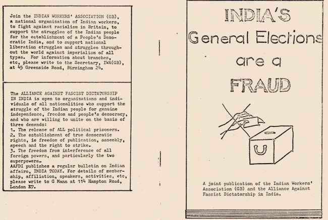 "IWA (GB) and The Alliance Against Fascist Dictatorship in India published this pamphlet to reject the 1977 elections and Indira Gandhi's ""dictatorial"" rule. IWA (GB) placed the fight against Gandhi's rule alongside the struggle against racism in Britain, and saw both as part of the global anti-imperialist struggle. Image:    SAADA"