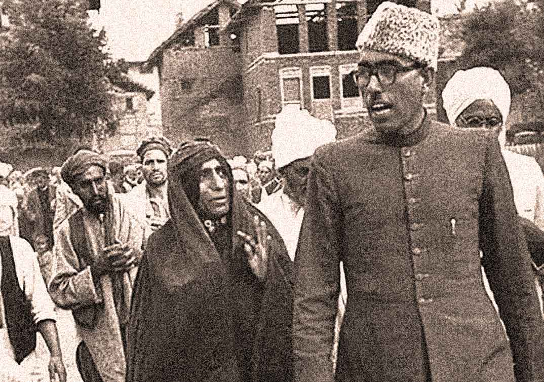 Sheikh Abdullah was the second Prime Minister of Jammu and Kashmir and a key political figure during the time of accession. His son Farooq Abdullah and grandson Omar Abdullah, both former Chief Ministers of Jammu and Kashmir, were detained along with other politicians when Kashmir's special status was revoked recently by the Indian government. Image:    Rising Kashmir