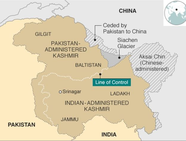 A map showing the current state of Jammu and Kashmir, divided between regions controlled by India, Pakistan and China. Image:    BBC