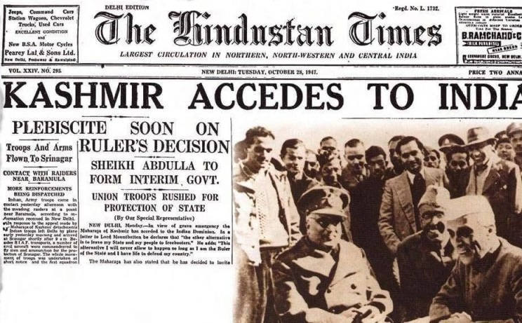 Faced with rebellions in Poonch and an attack by Pakistani militias, Maharaja Hari Singh acceded Kashmir to India in return for India's military assistance on October 27, 1947. It was agreed that once the situation was controlled, a plebiscite would be held in Kashmir to decide the fate of the region. Image:    The Daily Star