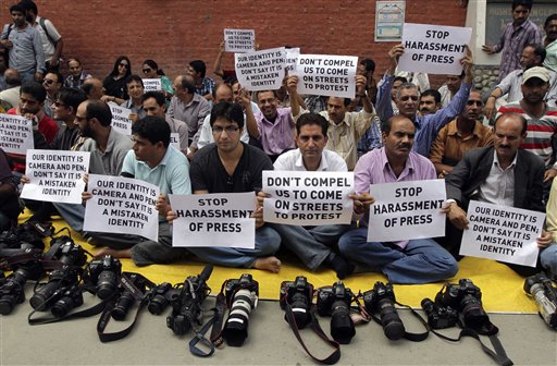 Aug 25, 2011: Kashmiri journalists protest in Srinagar against police attacks and harassment. Photo:    AP Photo/Mukhtar Khan