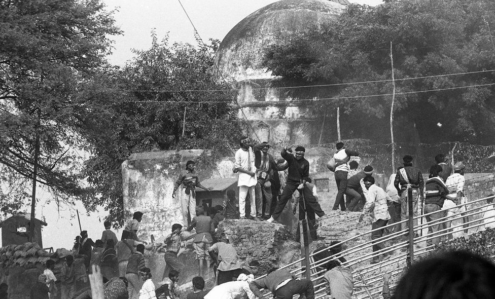 Dec 1992: The 18th century Babri mosque was demolished by Hindu mobs led by the RSS, who claimed that this was the birthplace of the Hindu god, Ram. This was followed by pogroms and riots that killed over 2,000 people, the majority of them Muslims. Image:    BBC