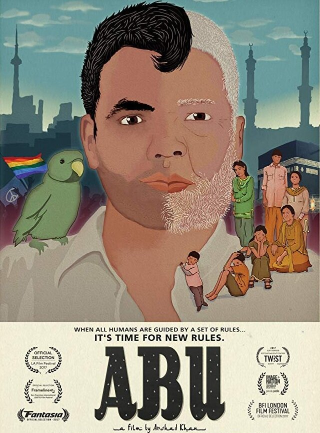 The  film poster of  Abu  — a face composed of two graphic halves. On the left is Arshad with the Toronto cityscape and pride flag, while the half on the right is his father with his Pakistani family and a mosque in the background. Image:    IMDb