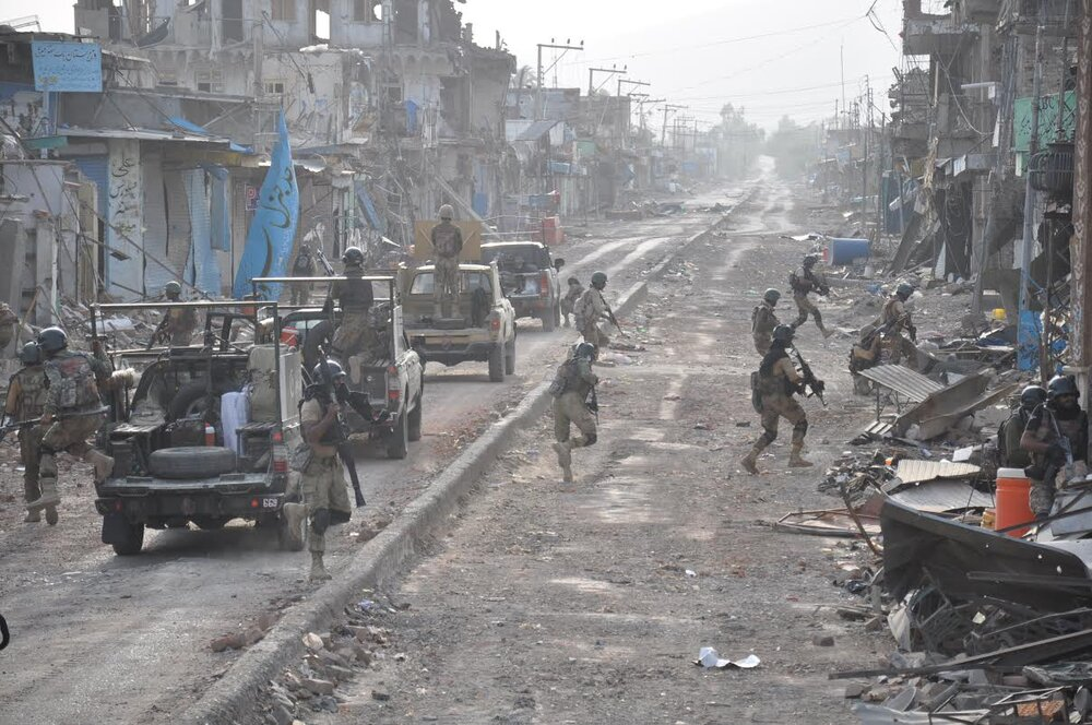 Mirali in North Waziristan during the 2014-2016 Zarb-e-Azb operation. Over 800,000 people were displaced from the region in just a few months after the operation started. One of PTM's demands is to hold the state accountable for the immense destruction of property as a result of indiscriminate army actions. The Source:    Wikipedia