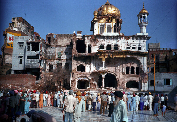 June 1984: the Akal Takht suffered significant damage during the Indian army's Operation Blue Star. Image: Caravan Magazine