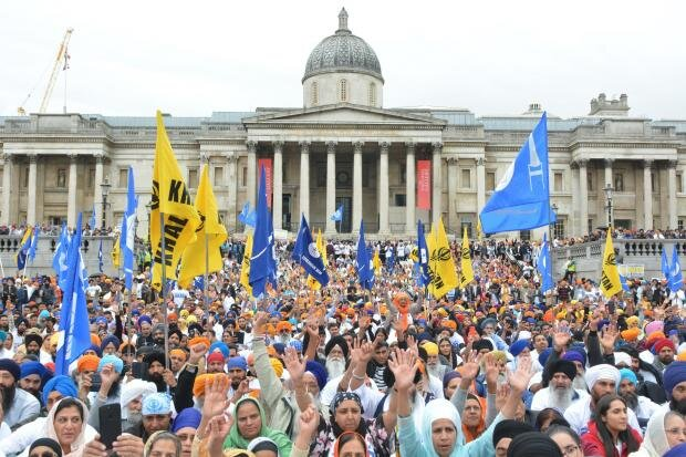 In August 2018, hundreds gathered in Trafalgar Square to demand self determination for Sikhs in India. Many Sikhs in the UK and North America continue to support the idea of Khalistan. For many, it's a question of justice for the atrocities committed by the Indian state in 1984. Image: Asian Image