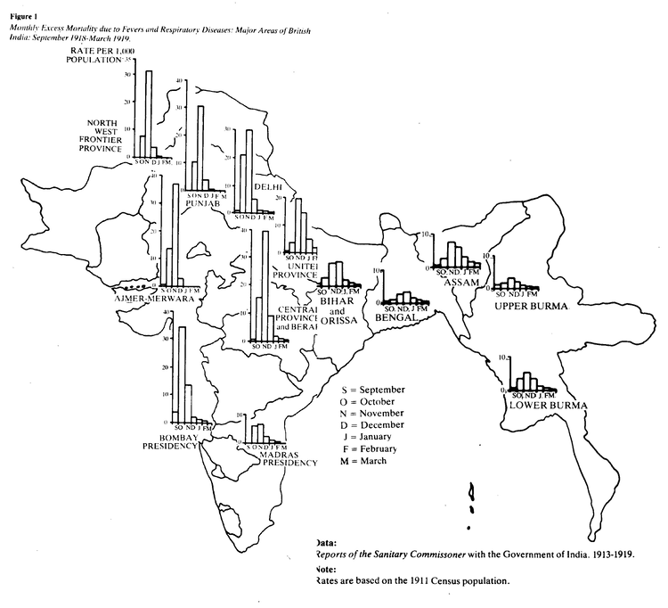 Monthly excess mortality due to fevers and respiratory diseases across all provinces of India: September 1918 - March 1919. Source: I. D. Mills in The 1918-19 Influenza Pandemic - The Indian Experience.