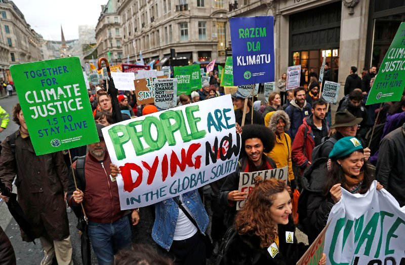 Demonstrations in central London prior to the United Nations climate change conference in Poland in December 2018. Image:    Reuters/Peter Nicholls via Techengage