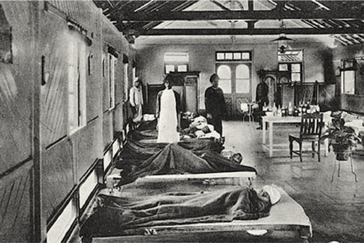 A patient treatment and isolation ward in Bombay. Image: Narratives of the Bombay Plague via Outlook