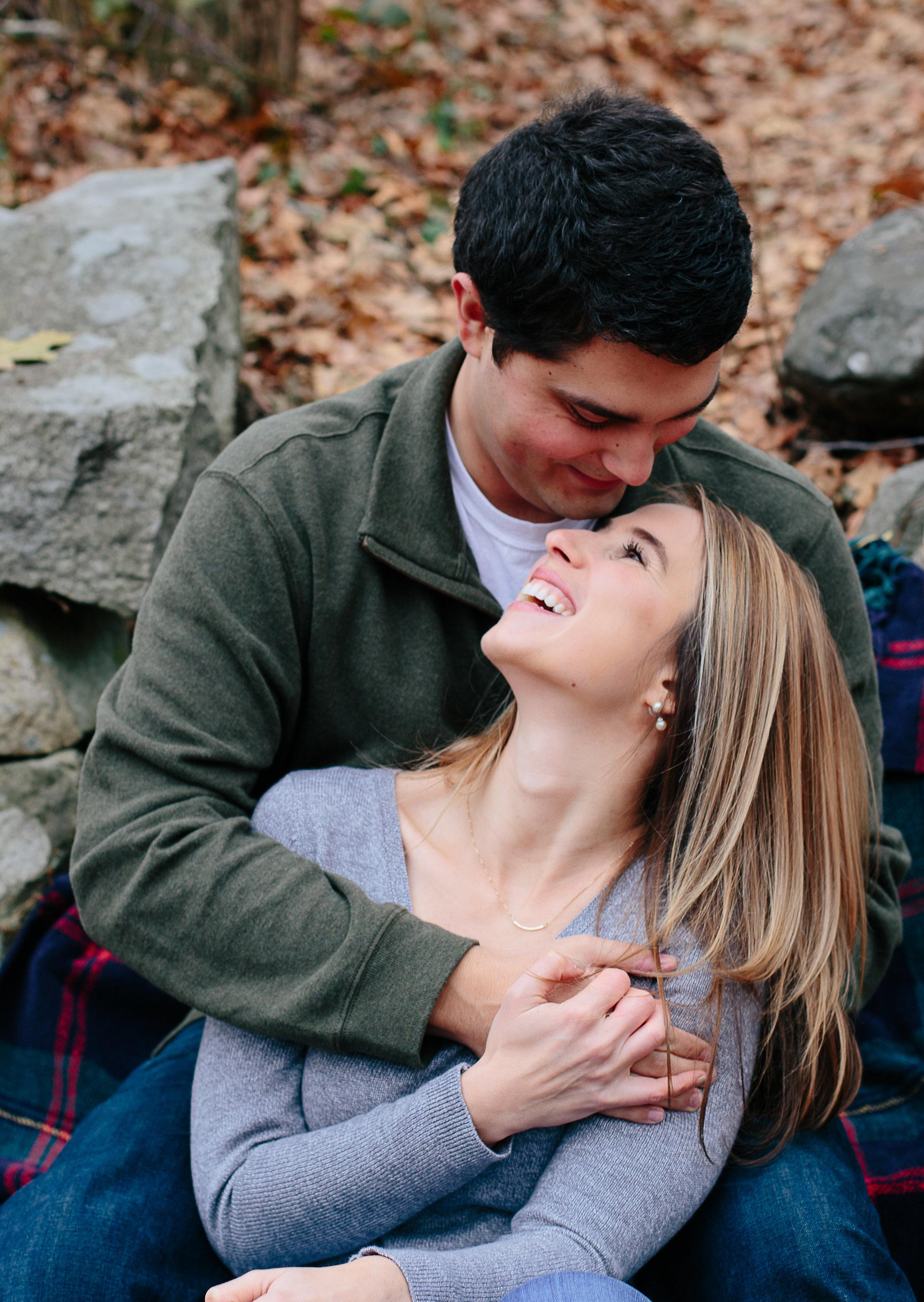 Joy Uyeno Greater Boston engagement photographer beautiful couple laughing