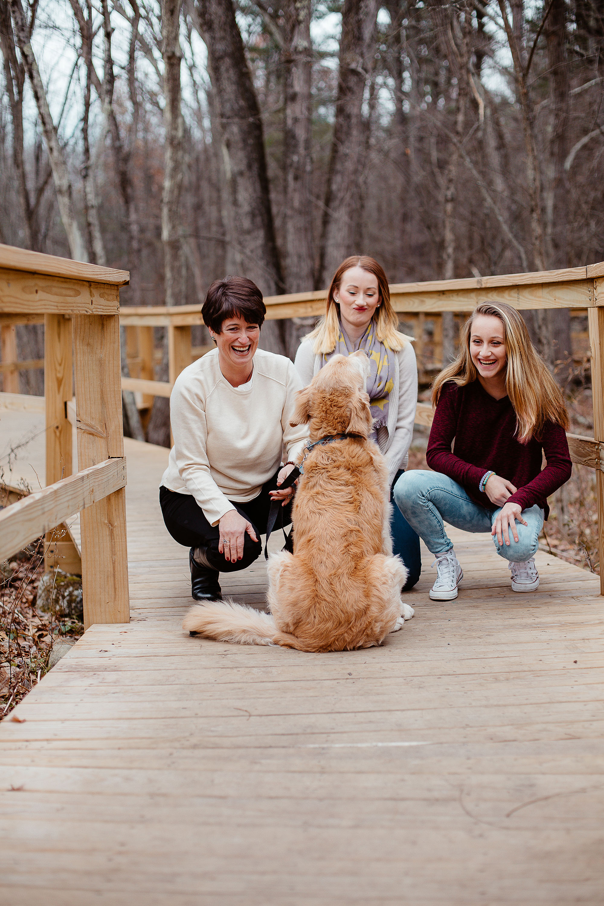 Joy Uyeno Greater Boston family photography Acton mother daughter session candid photo with dog