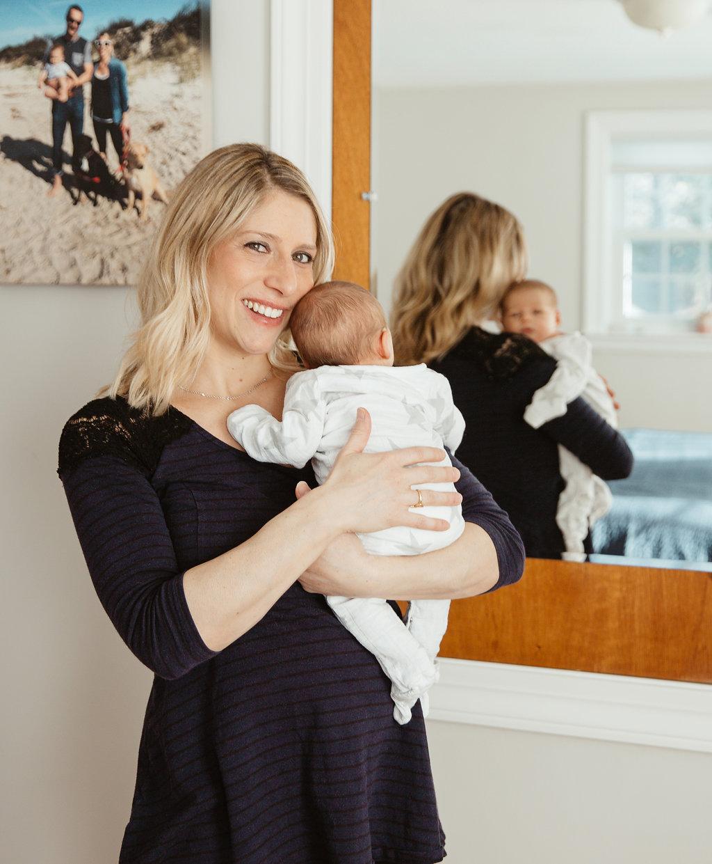 Mother and newborn baby during Sudbury Massachusetts photo session