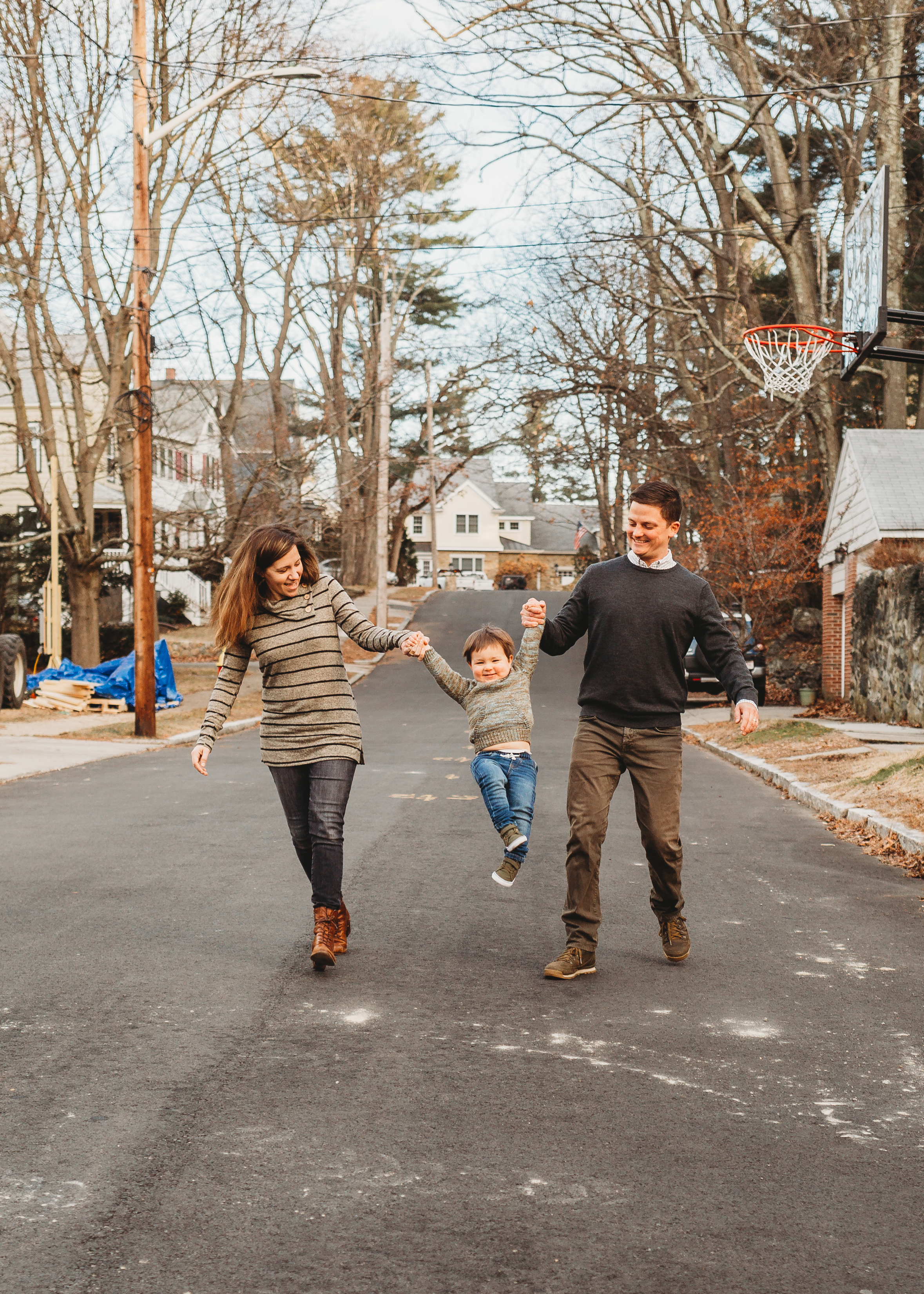 """Swing me!"" On the quiet street of their new home in Melrose. Boston family photographer Joy LeDuc."