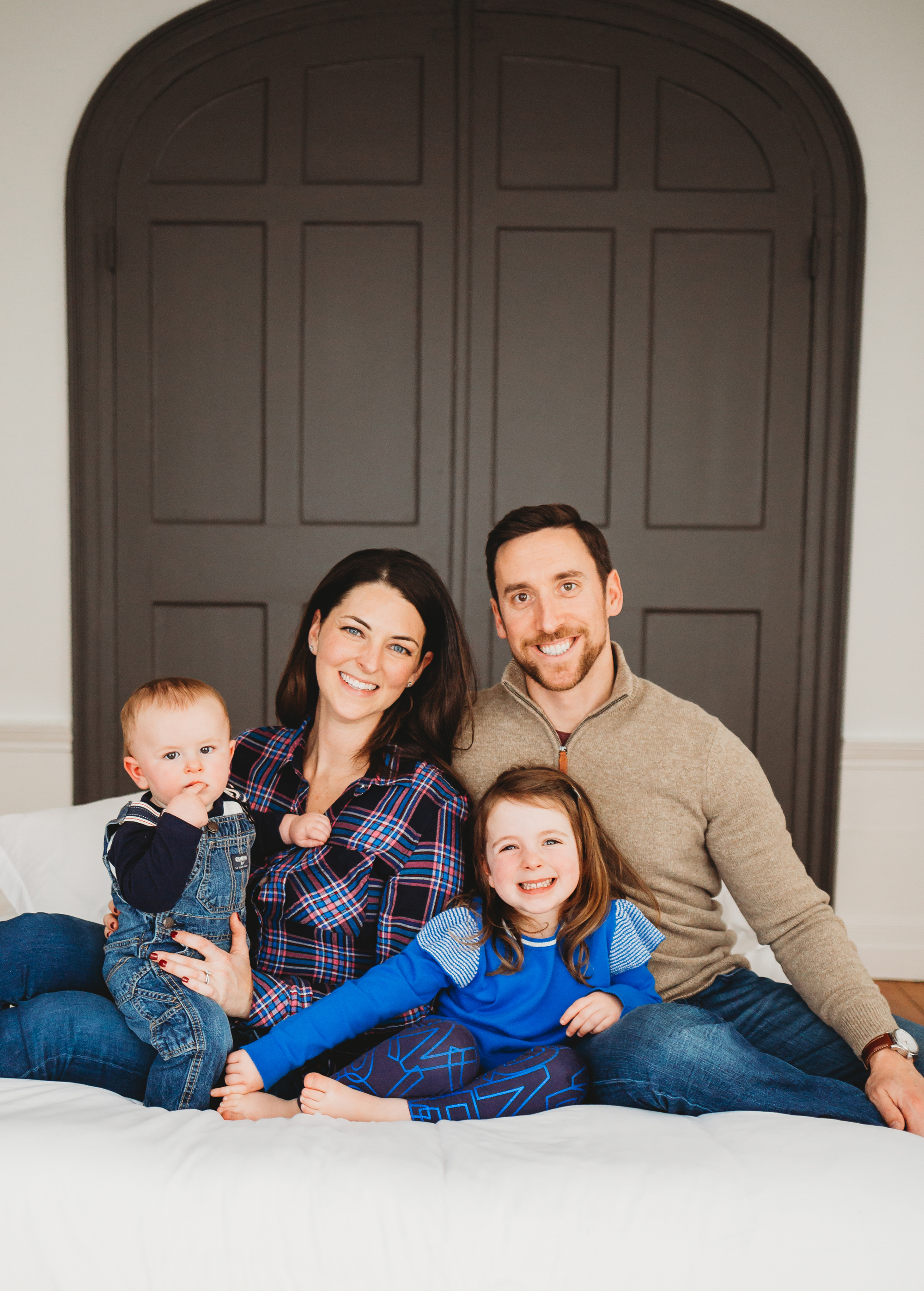 The holiday card winner! Boston family portraits in my natural light studio.