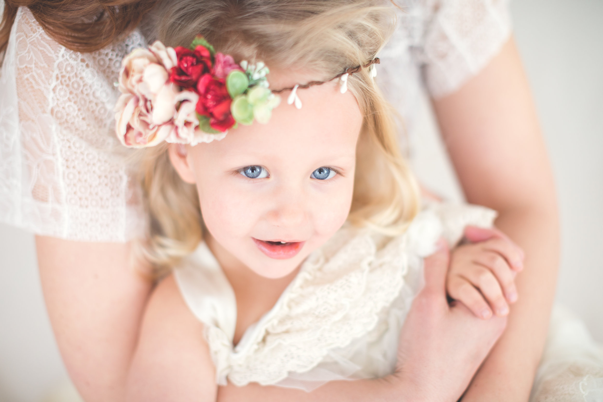 Mother-daughter flower crown session. Sudbury family photographer. Stow, Concord, Wayland photography.