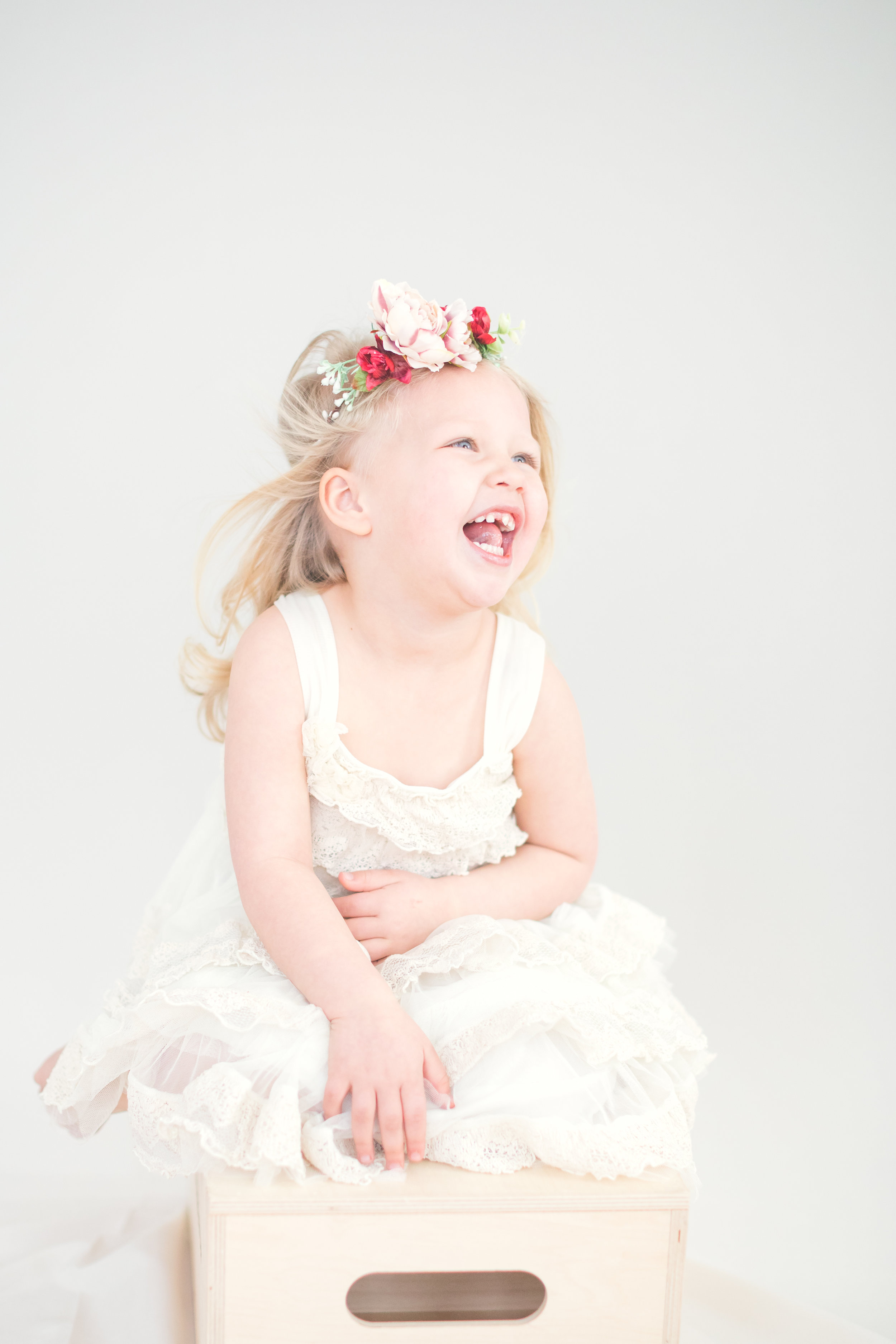 3-year-old flower crown portraits. Mother-daughter photos. Greater Boston family photographer.