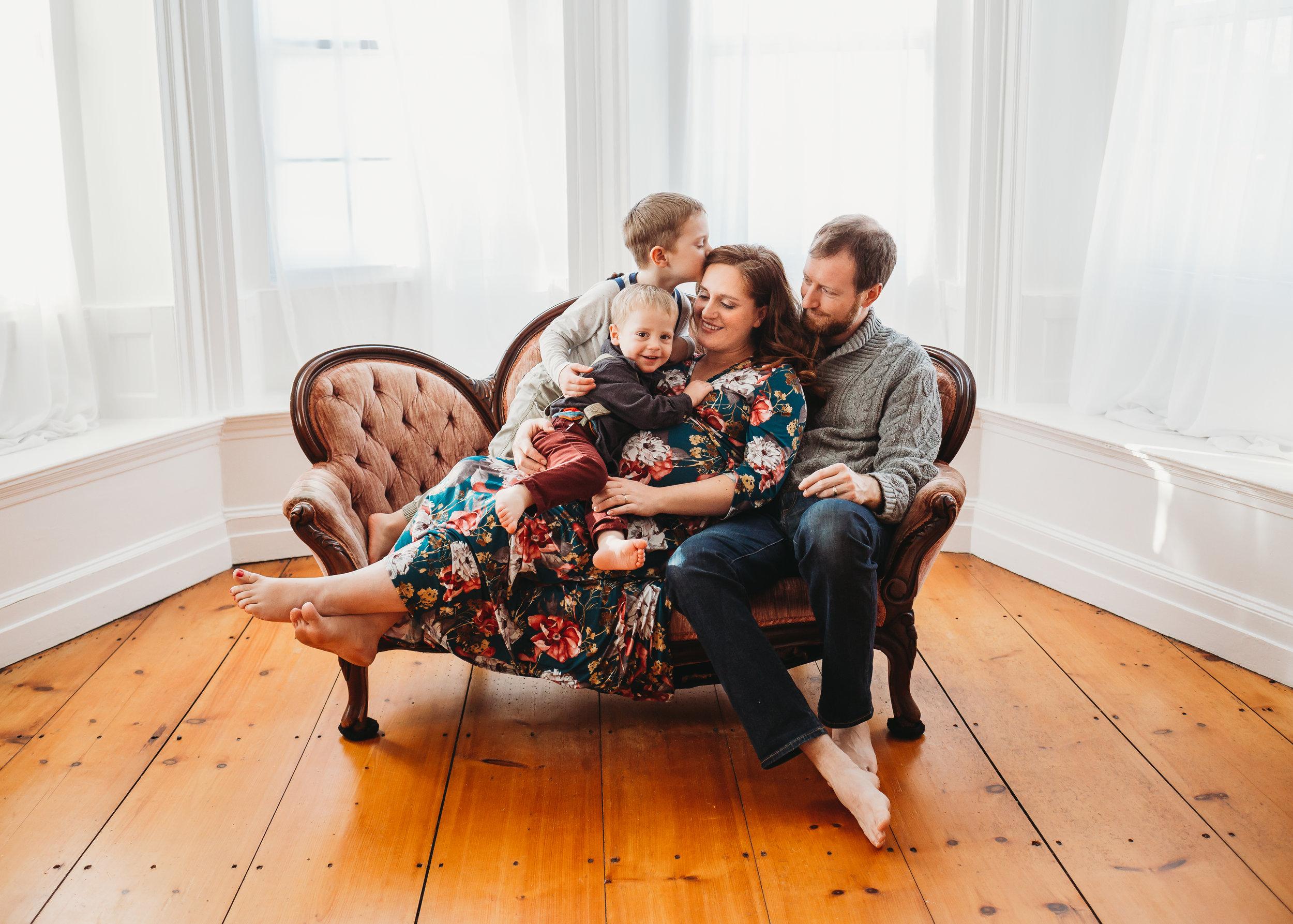 Maternity Family Photo Session In-Studio | Boston Family Photographer