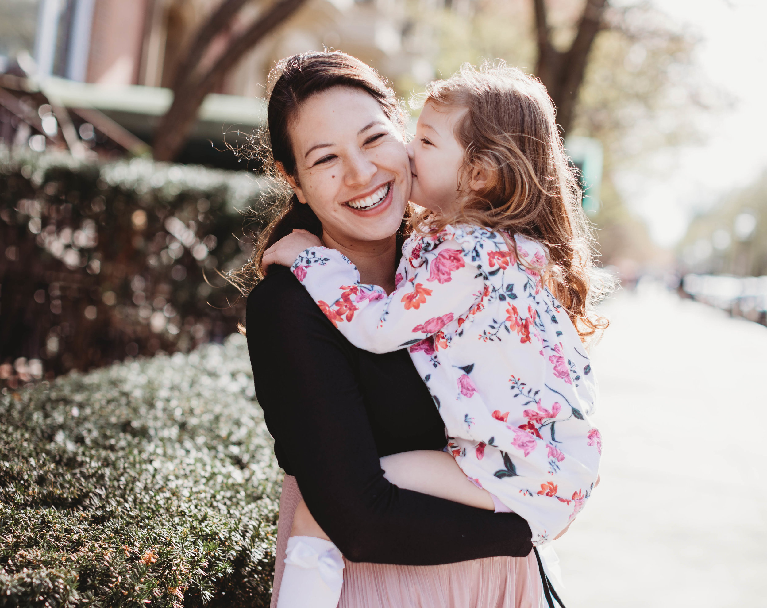 Mom and toddler daughter. Boston maternity photographer. Springtime family photos.
