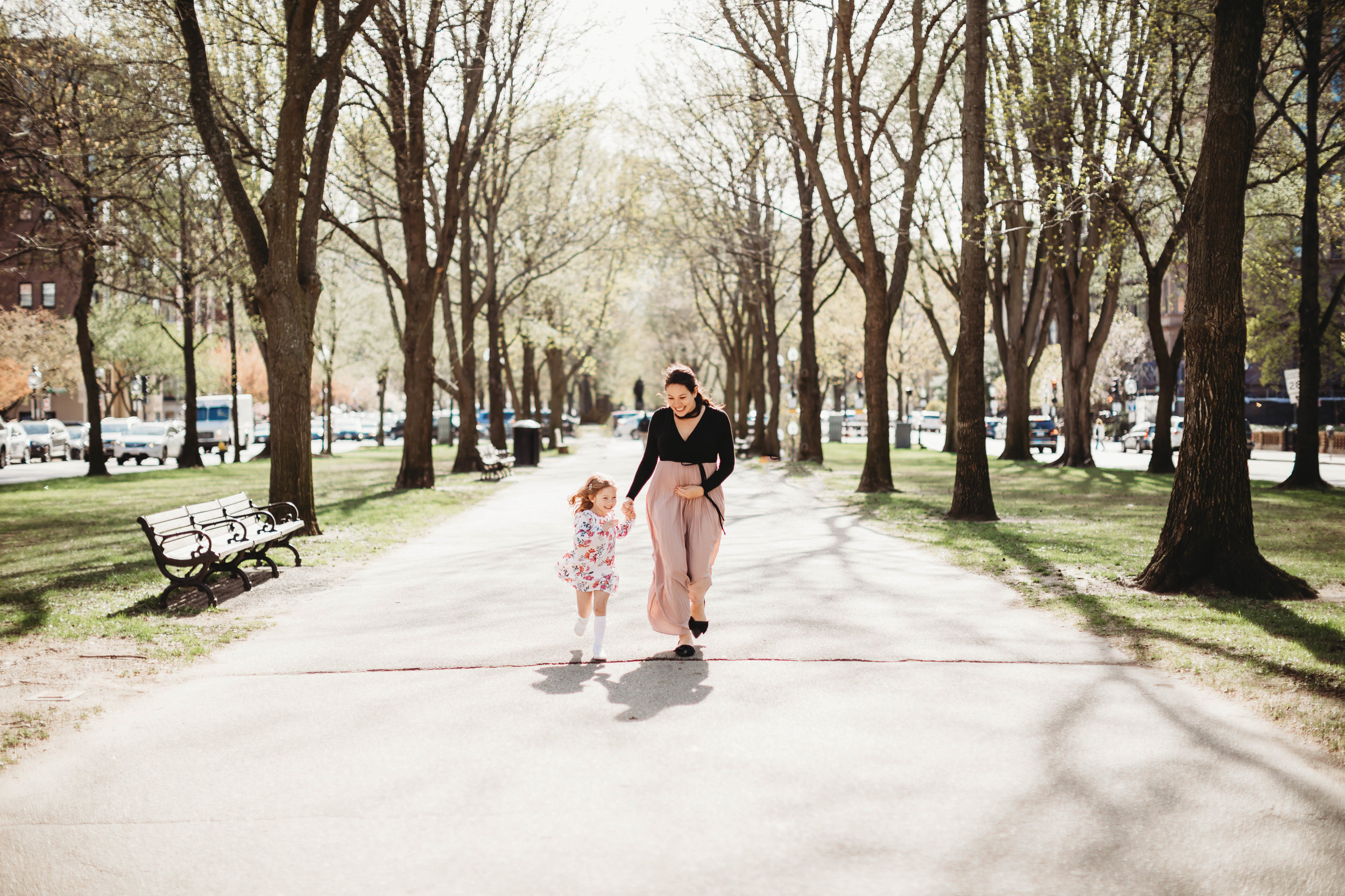 Boston family photographer. New England maternity portraits. Springtime in the Back Bay with an old friend.
