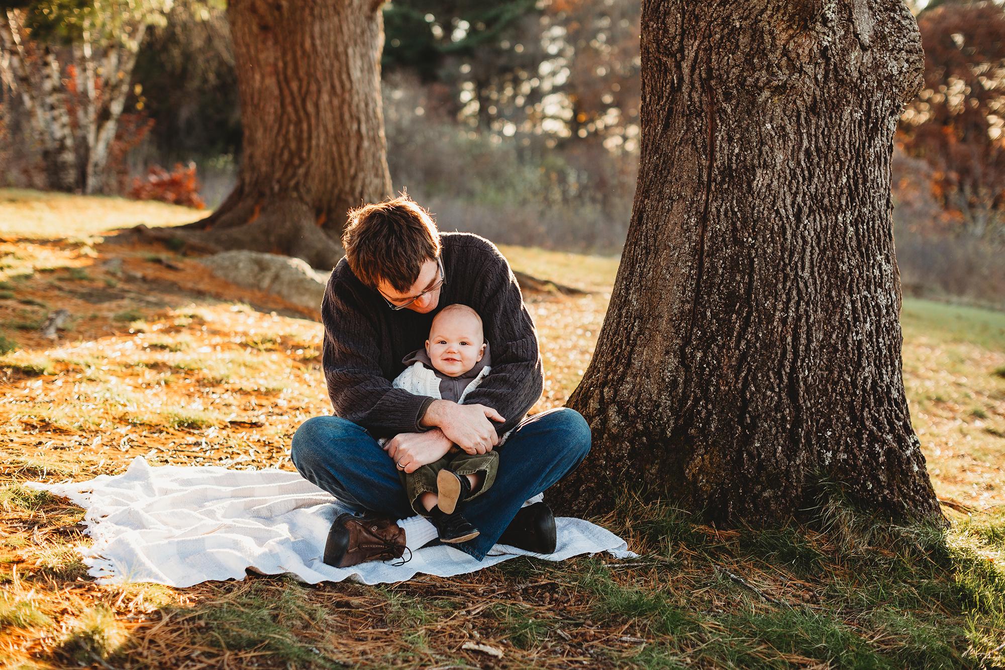 Father-son photos in November. Fall family photos in Greater Boston. Joy LeDuc photographer.