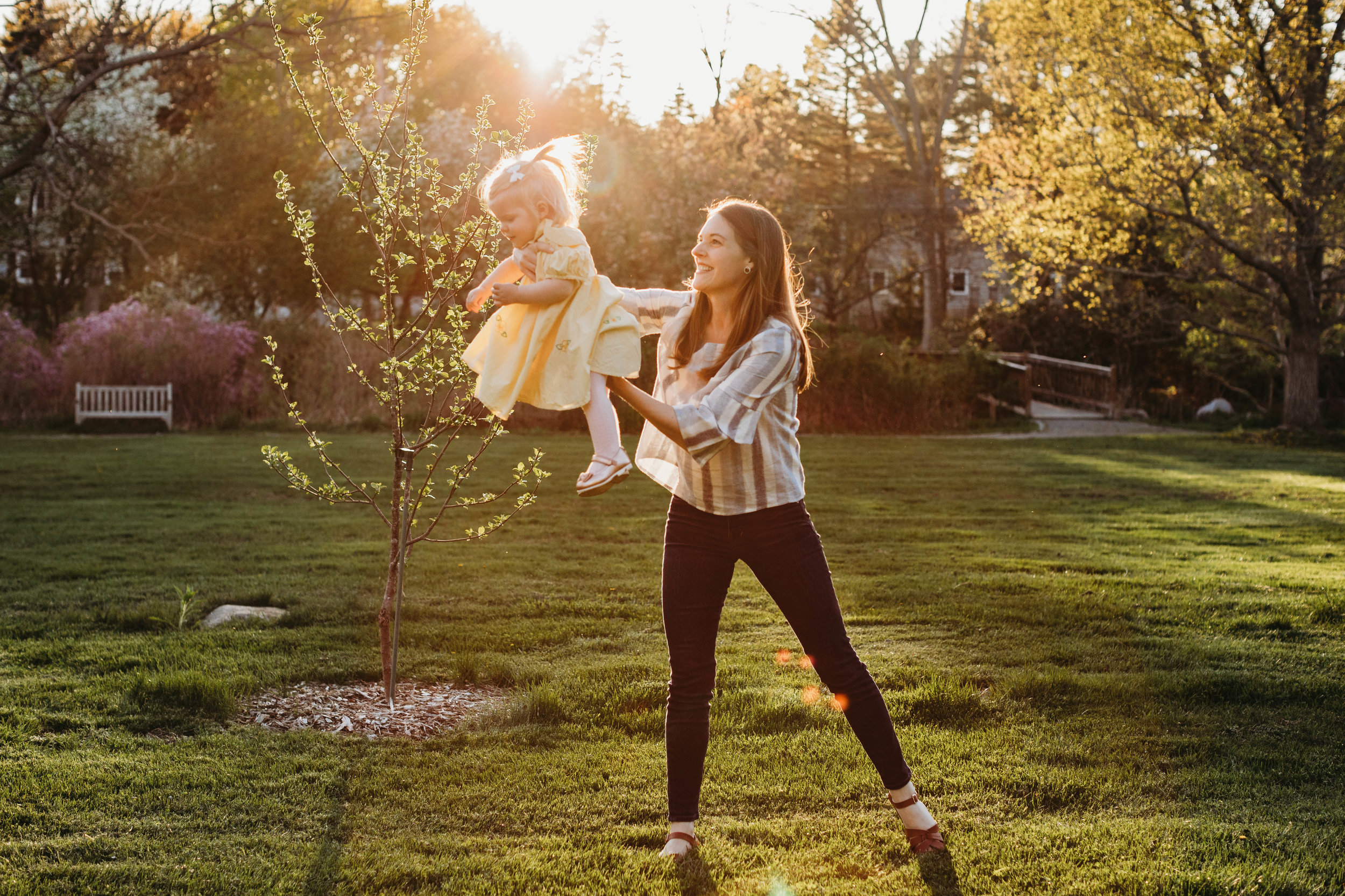 Boston family photographer Joy LeDuc. Golden hour mother-daughter photos in Acton, Massachusetts. Lifestyle photography for children, families and pets.
