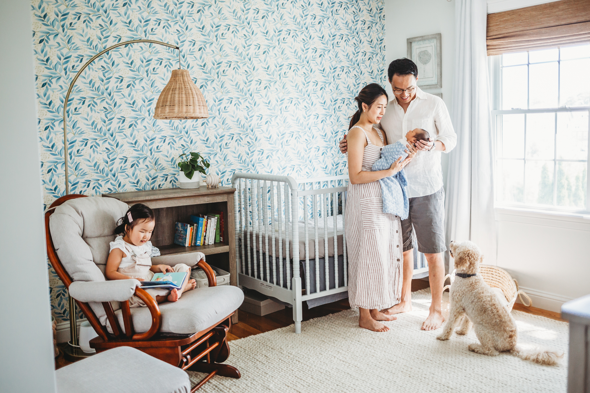 Creating a serene environment for in-home newborn sessions is key to getting dreamy photos—and to enjoying your photo shoot. Framingham family photographer Joy LeDuc.