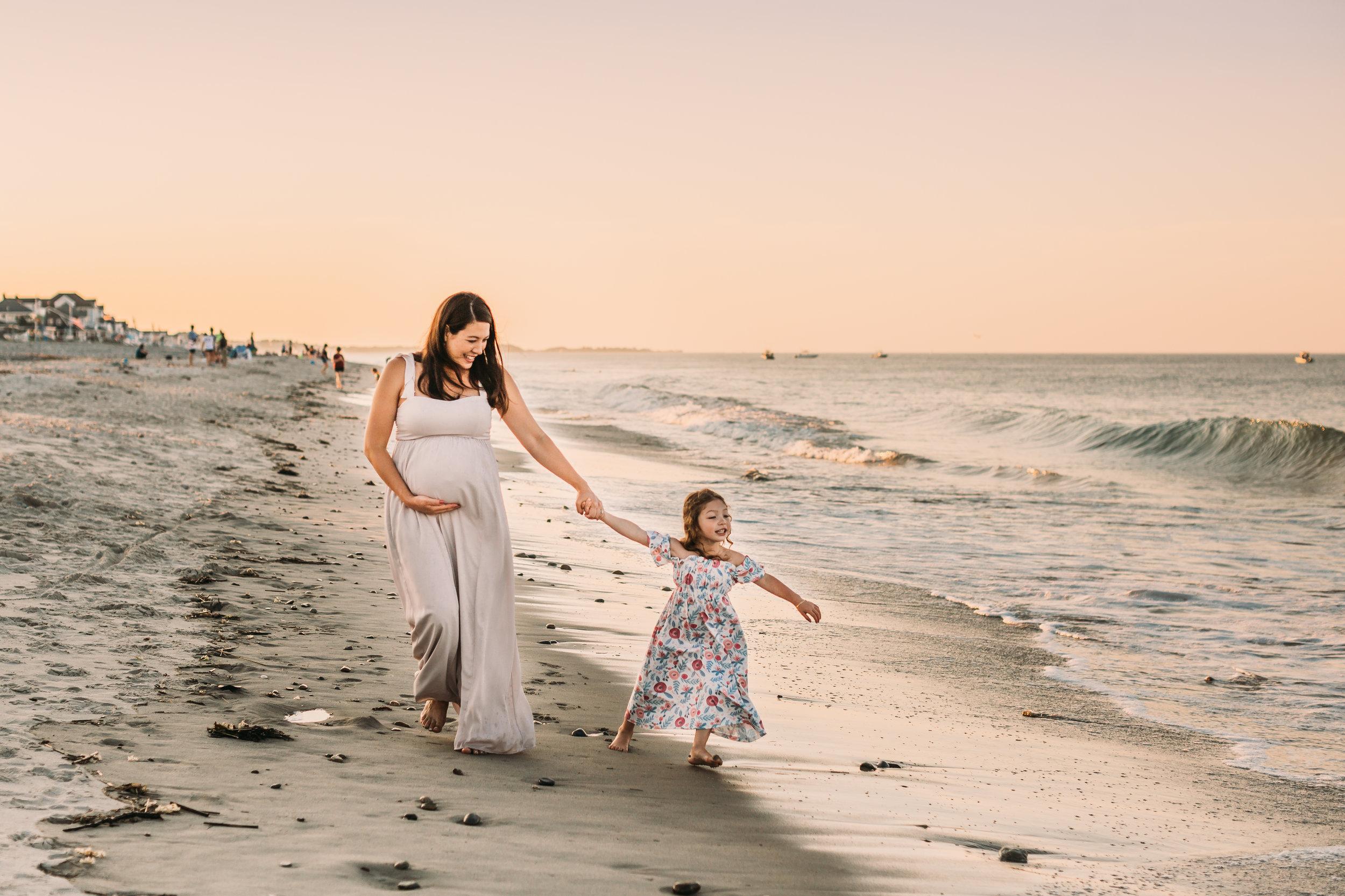 Scituate, Massachusetts Sunset Maternity Photography Session