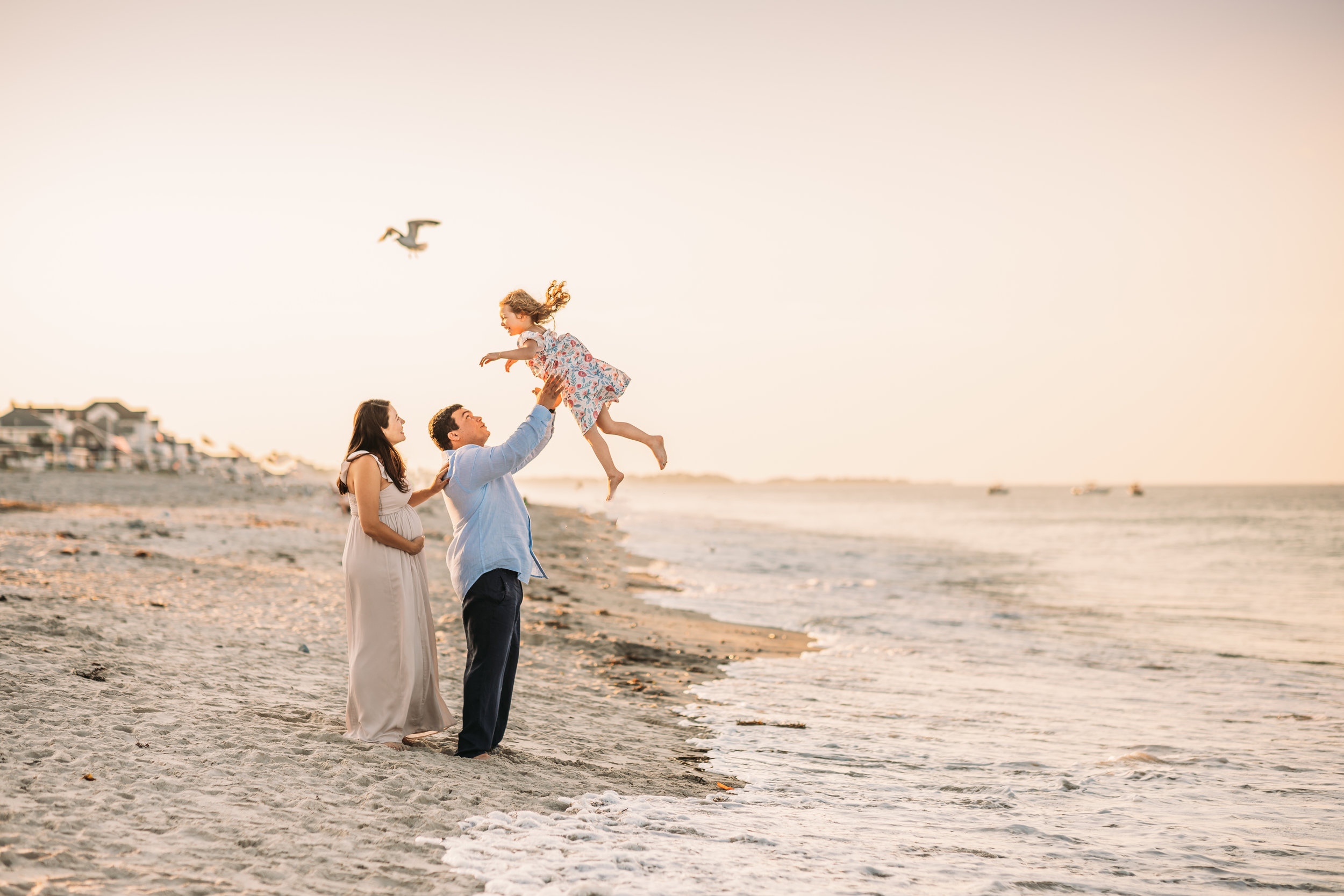 Christine and Mario: Pink Scituate Beach Family Session | Boston Maternity Photographer