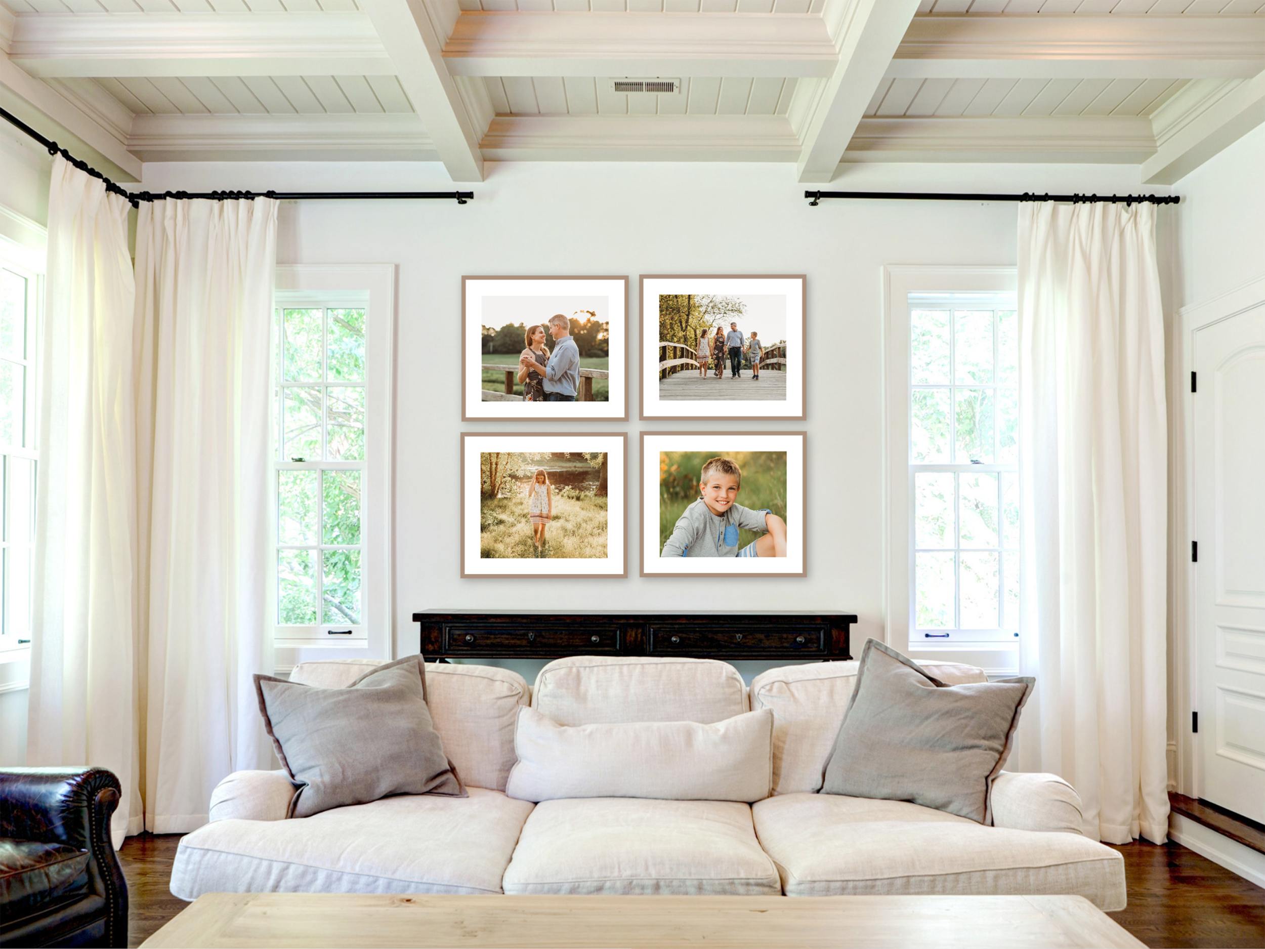 Gallery wall from a family photography session in a client's living room in Sudbury, Massachusetts.