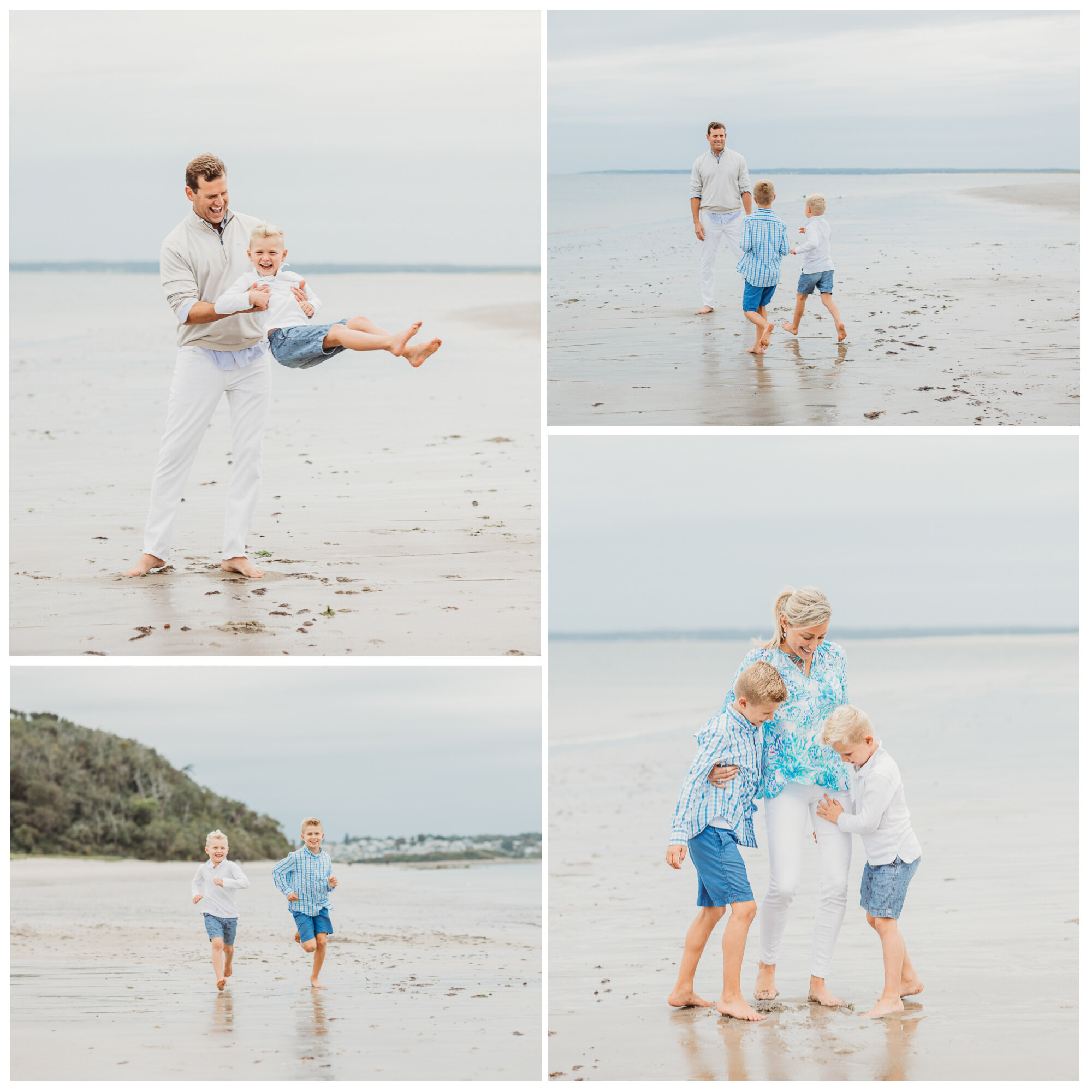 A collage of photos from a Wellesley family's beach day session on a cloudy September day.