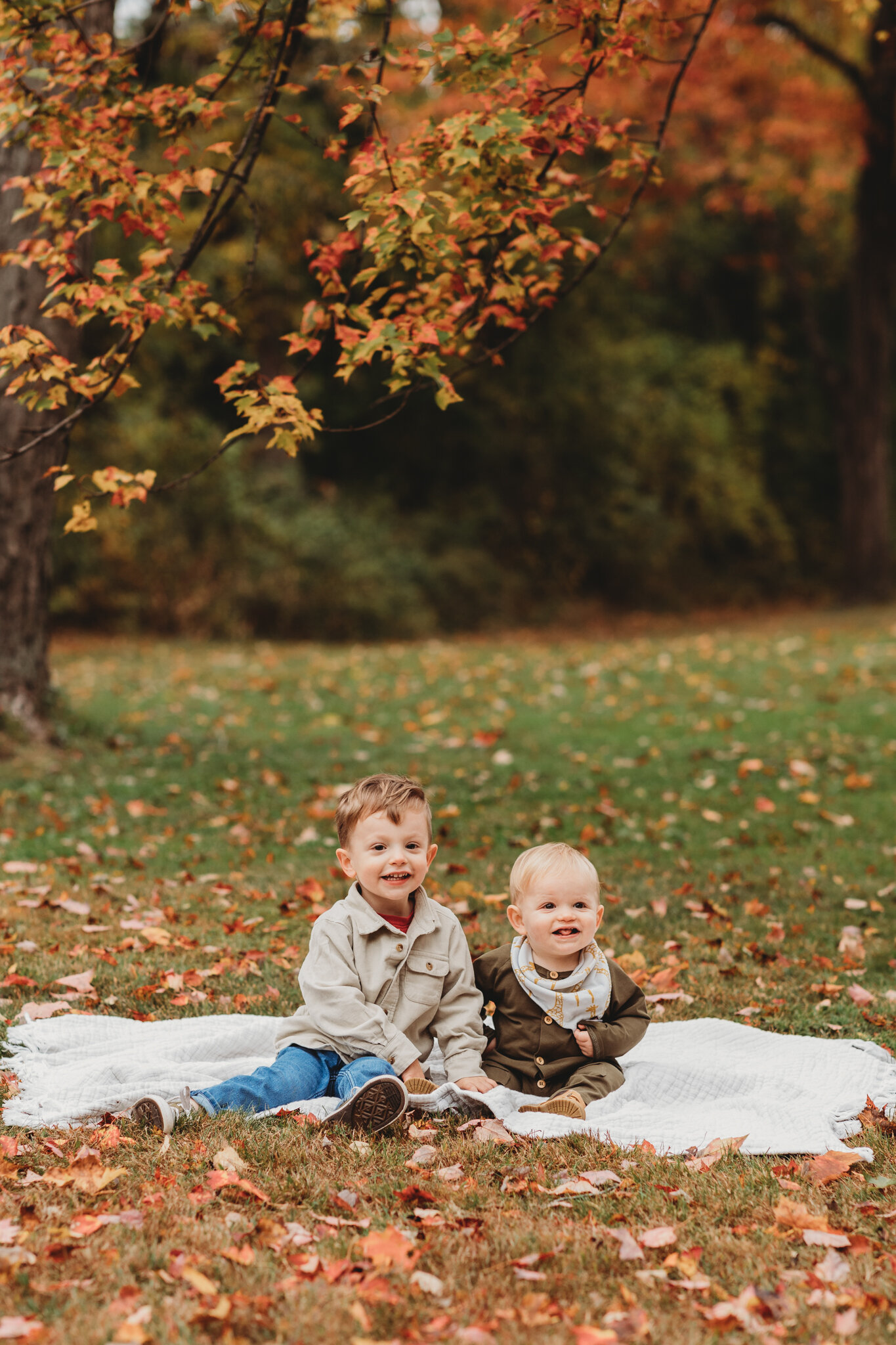 3-year-old and 1-year-old brothers sitting under a brightly colored tree in the fall during their family photography session in Sudbury.