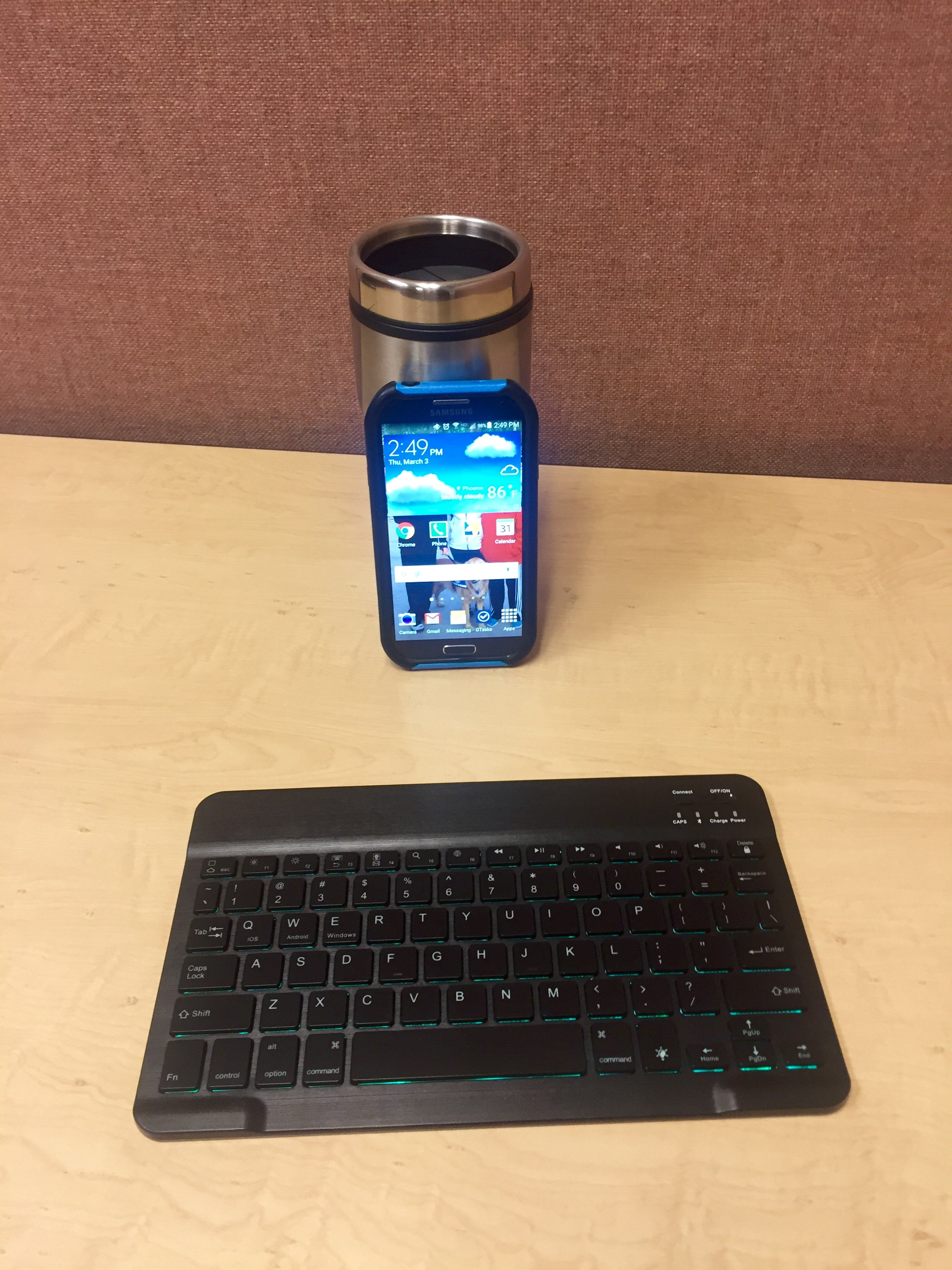 A smartphone with a bluetooth-keyboard makes for an ultra portable writing setup