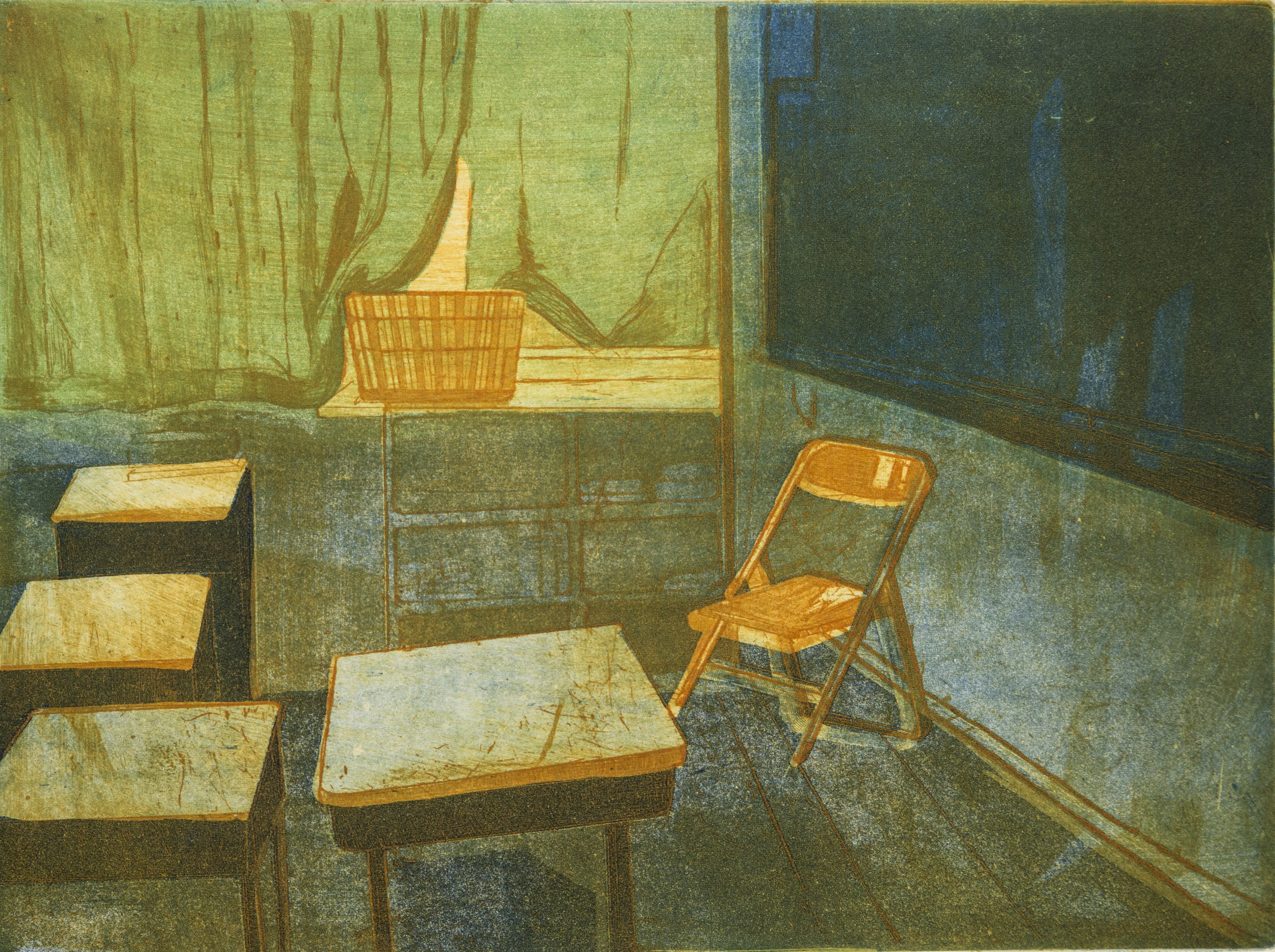 Afternoon   There is a sense of a normal, quiet afternoon in my high school, which often comes to mind. This work represents the quietness of the afternoon and my love of the place.  Etching on copper plate, Ink Size: 15 X 19(inches)