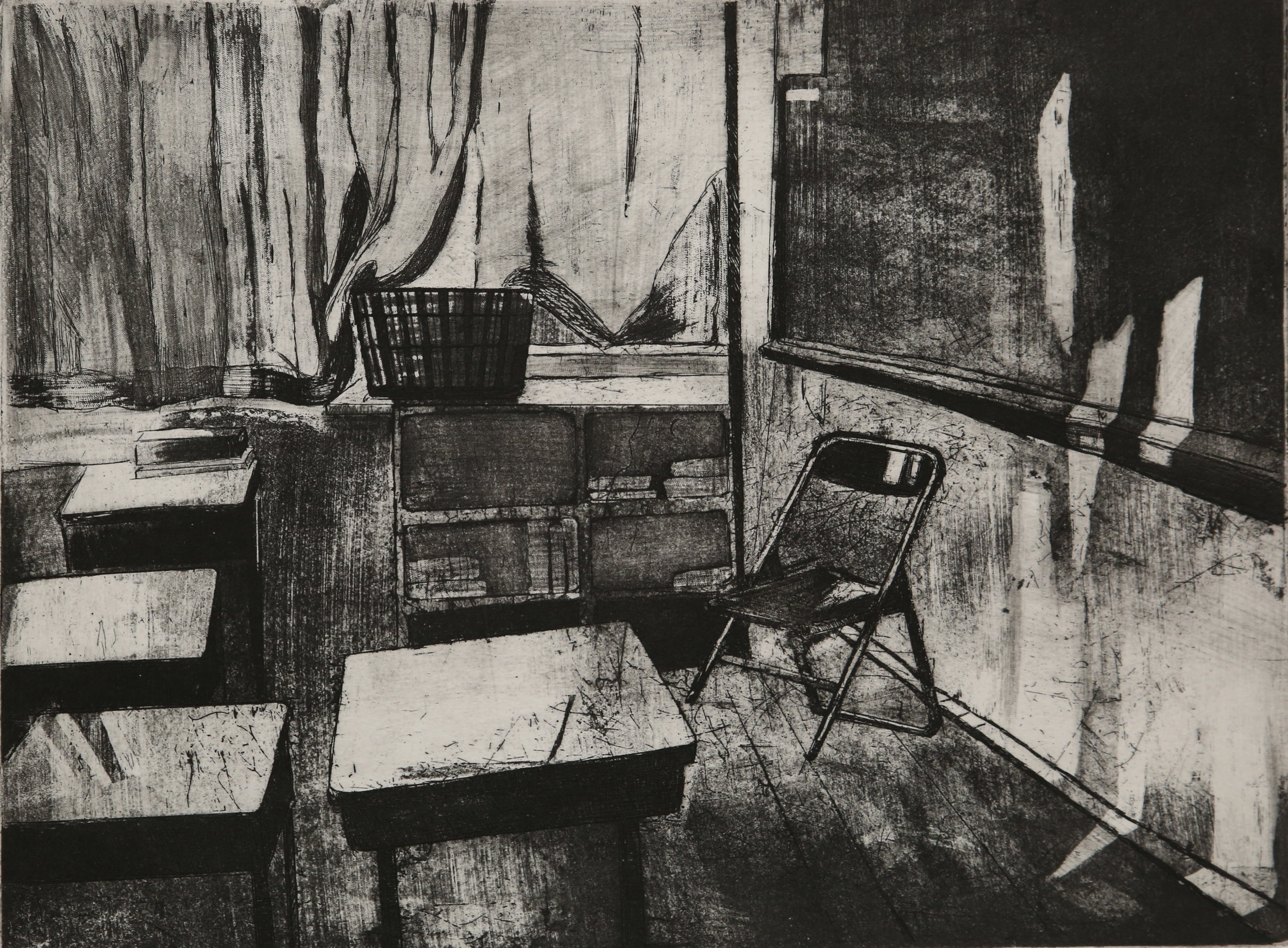 Afternoon  Black & White Etching on copper plate, Ink Size: 15 X 19 (inches)