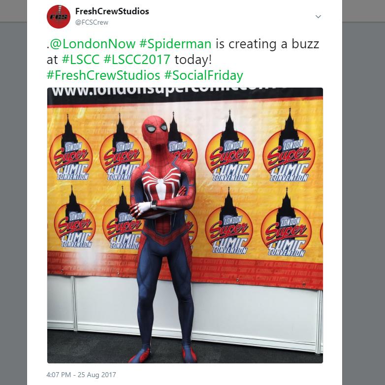 @ LondonNow    # Spiderman   is creating a buzz at  # LSCC    # LSCC2017   today!  # FreshCrewStudios    # SocialFriday