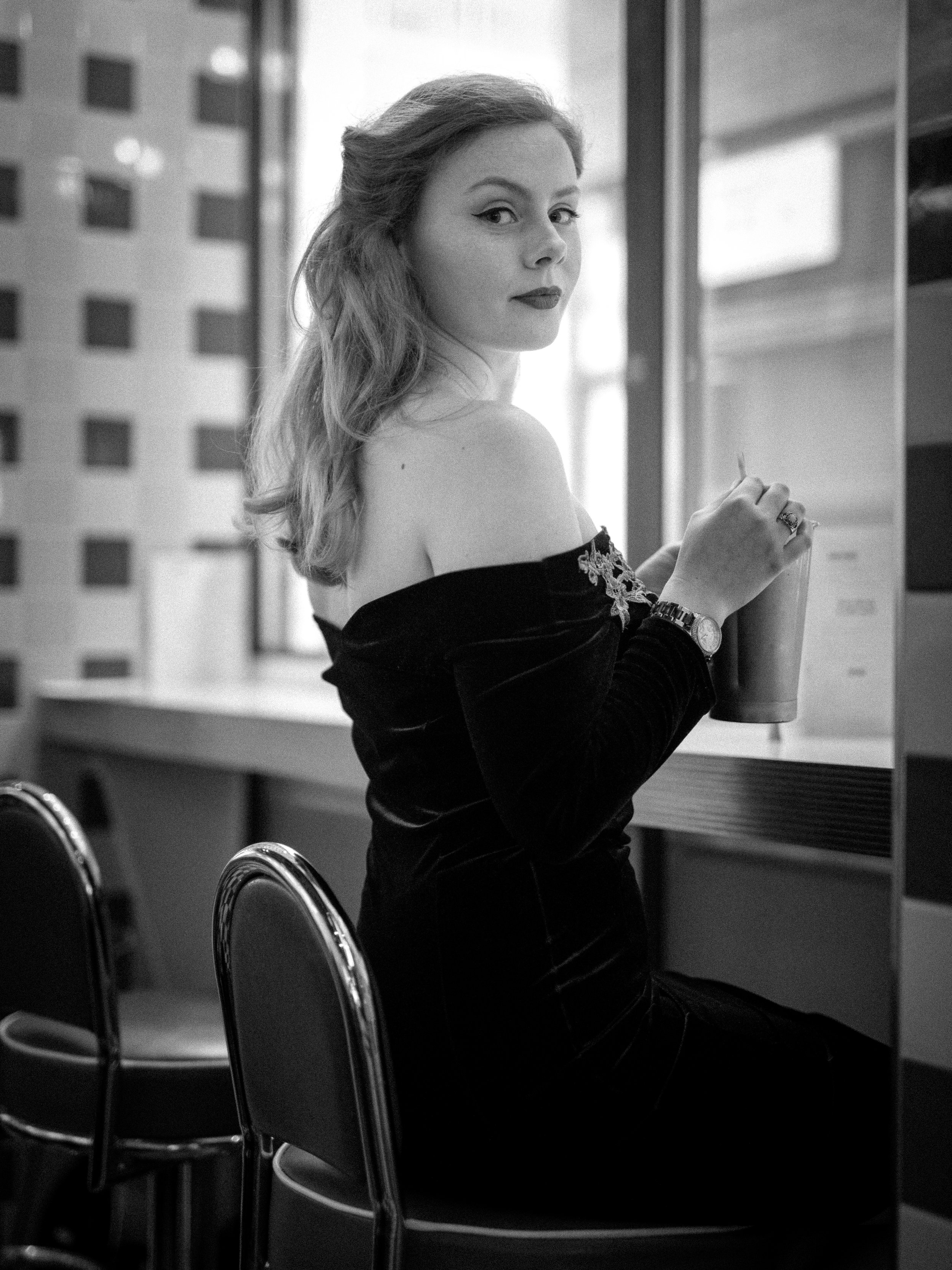 1950s Diner Black and White Portrait Looking Back