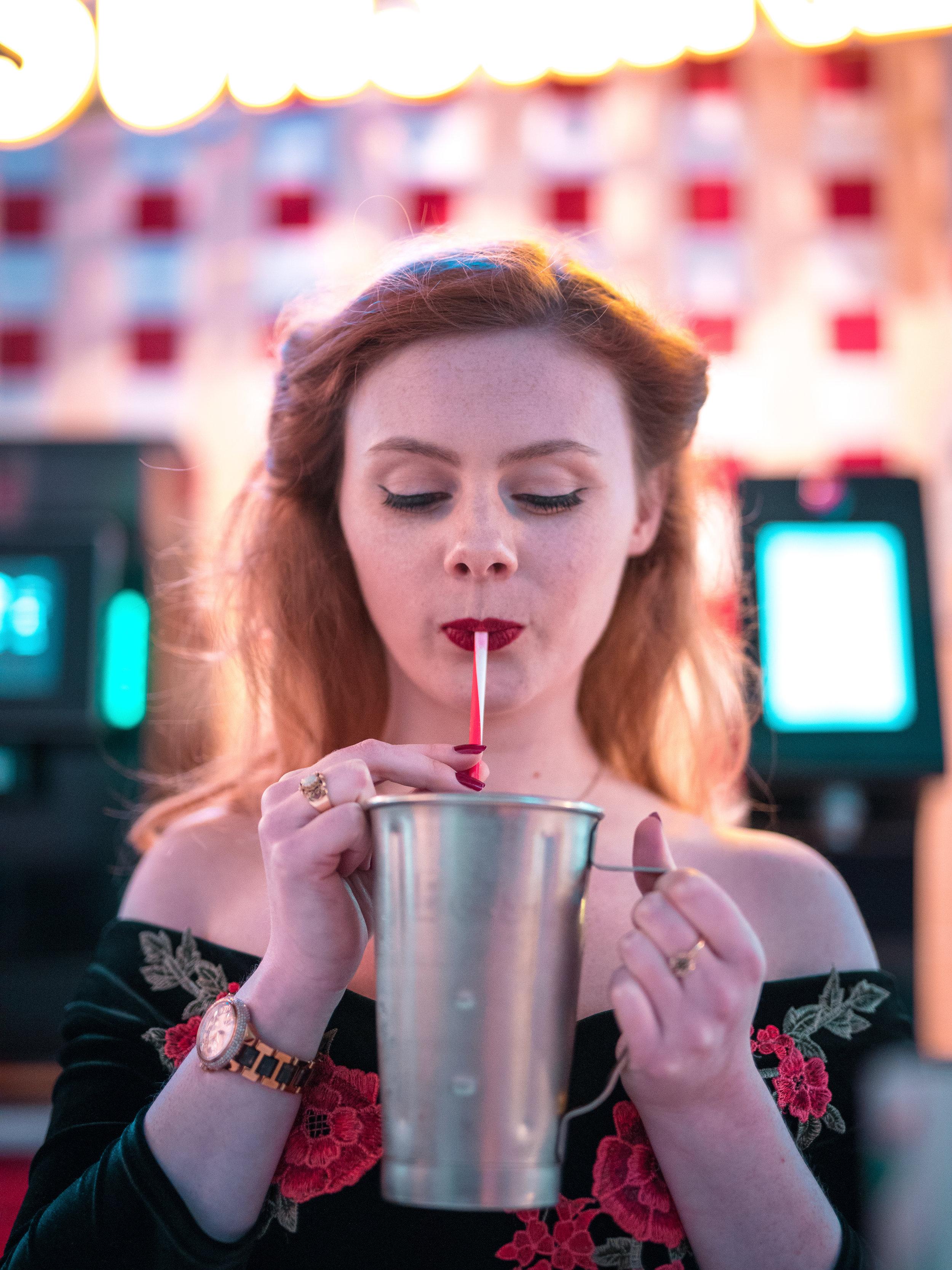 1950s Diner Milkshake Portrait