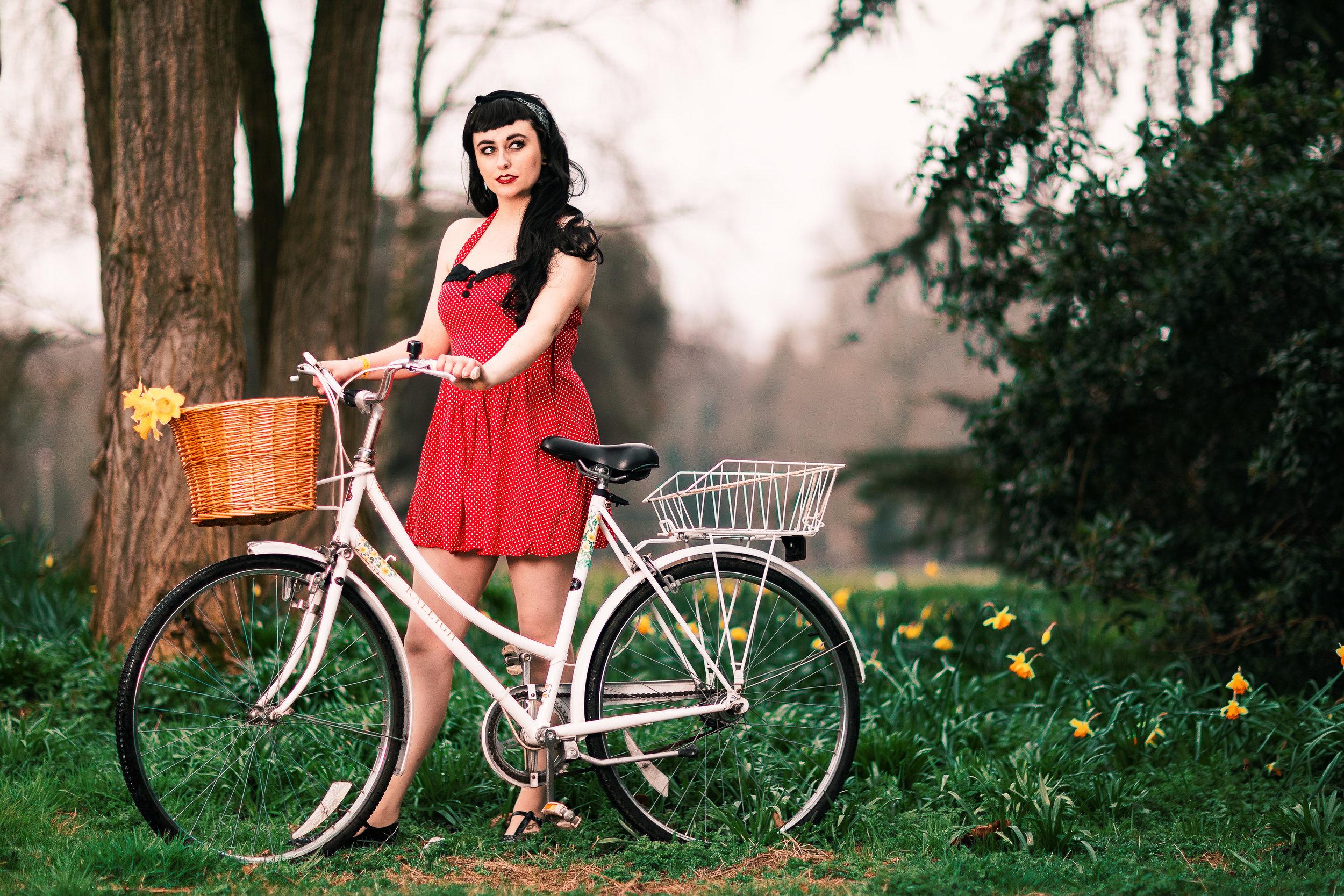1950s Rockabilly Portrait Daisy Bike Ride