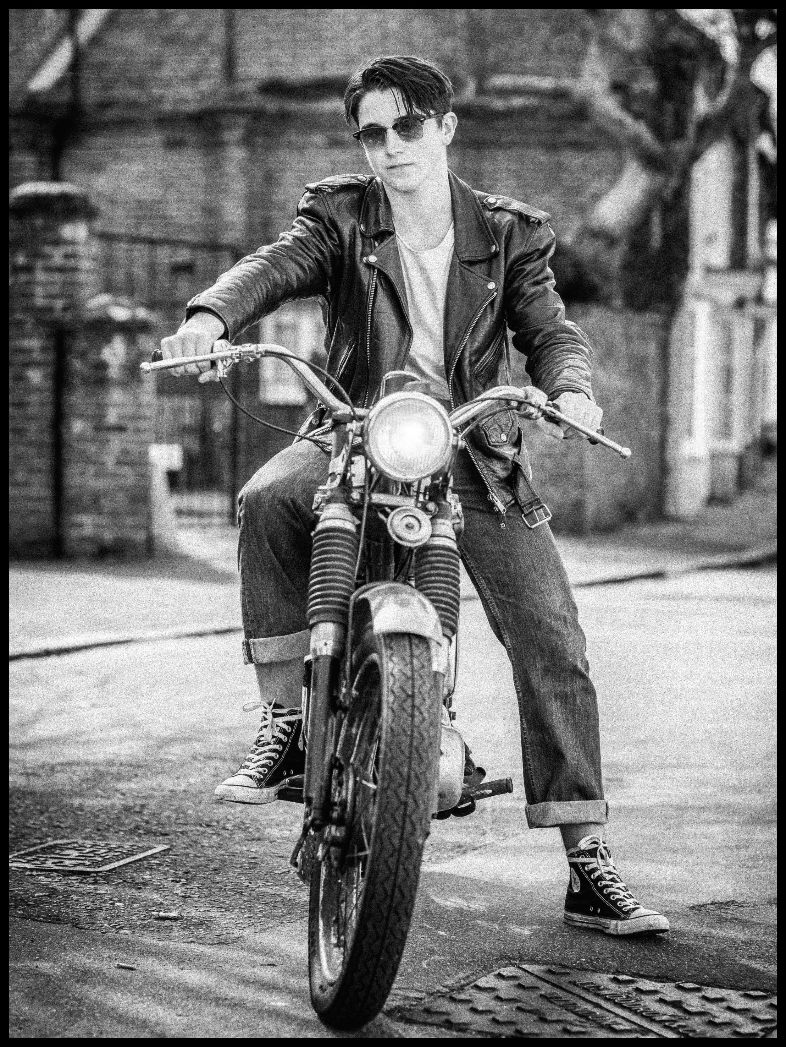 1950s Biker Portrait Time for a Ride
