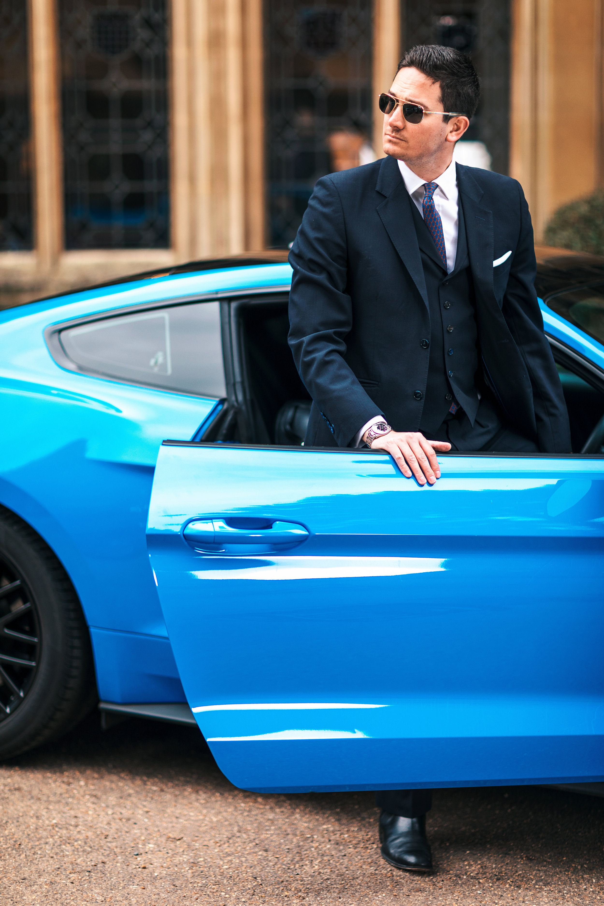 Making an Entrance - Modern Male Fashion Portrait with Ford Mustang